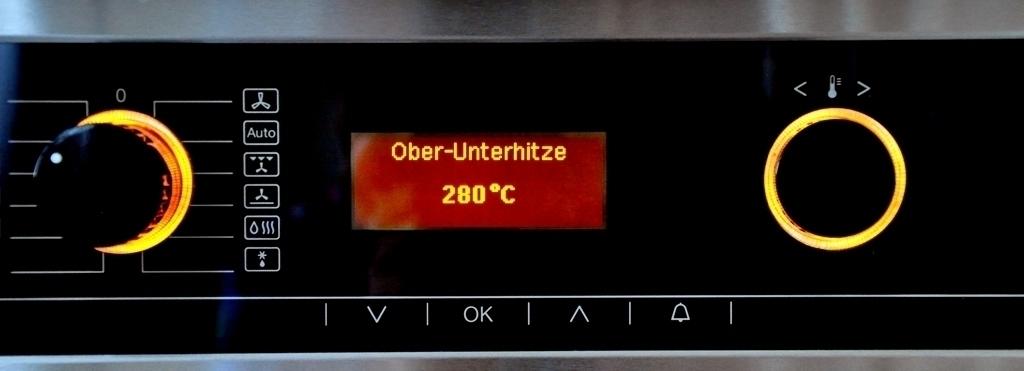 Ofen vorgeheizt auf 280 Grad