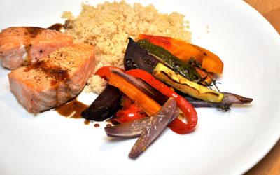 Lachs, Couscous & Ofengemüse
