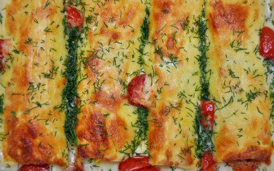Riesen-Cannelloni mit Lachs und Mangold