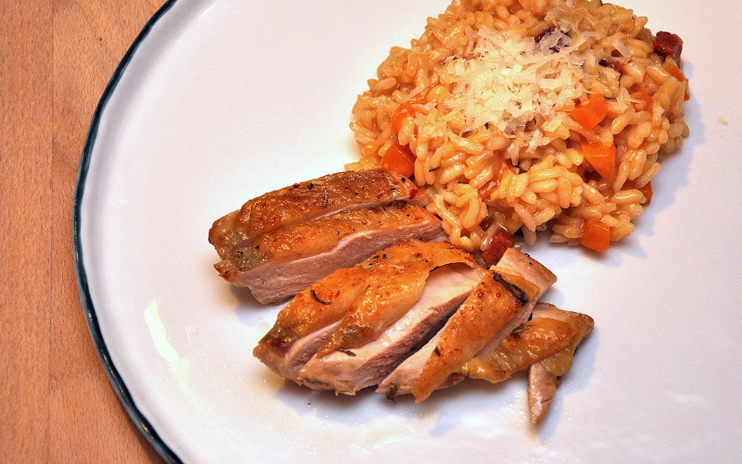 Perlhuhnbrust auf Kürbis-Chorizo-Risotto