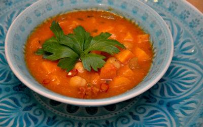 Süßkartoffelsuppe mit Chorizo