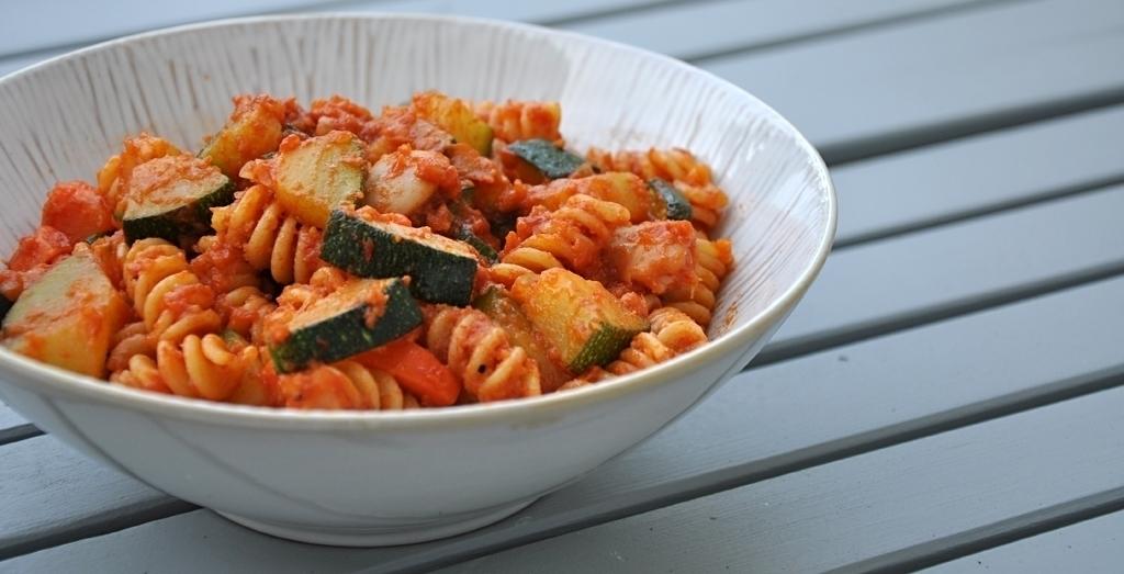 Fussili Zucchini und Bohnen